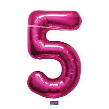 Helium ballon cijfer 5 roze 86cm