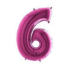 Helium ballon cijfer 6 roze 86cm