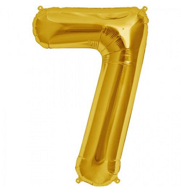 Helium ballon cijfer 7 goud 100cm