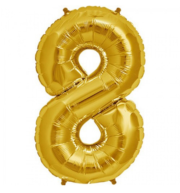 Helium ballon cijfer 8 goud 100cm