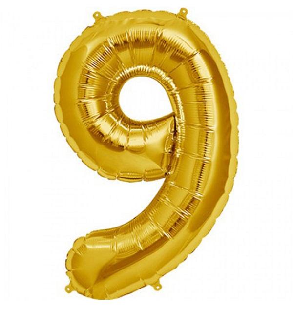 Helium ballon cijfer 9 goud 100cm