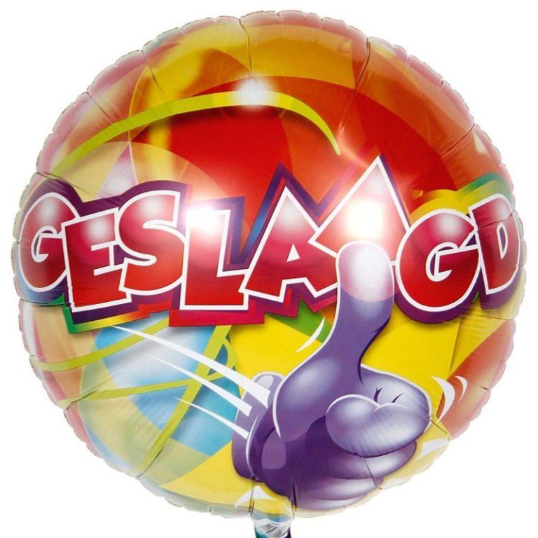 Helium ballon geslaagd duim omhoog