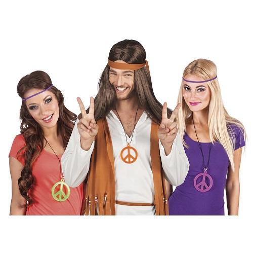 Hippie Peace ketting neon geel