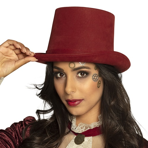 Hoge hoed deluxe bordeaux rood