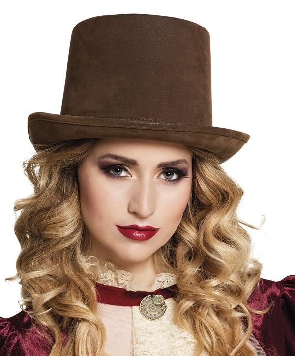 Hoge hoed steamtopper bruin