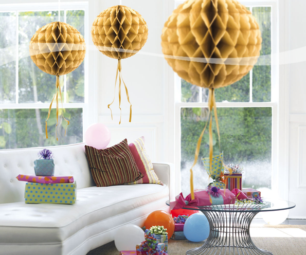 Honeycomb bal goud 30cm