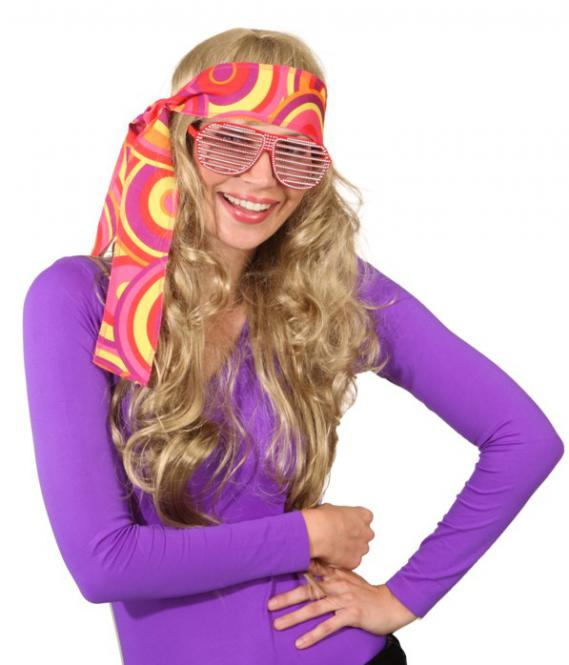 Hoofdband hippie crazy oranje