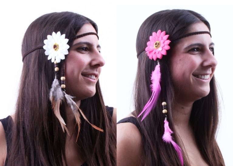 Hoofdband hippie wit