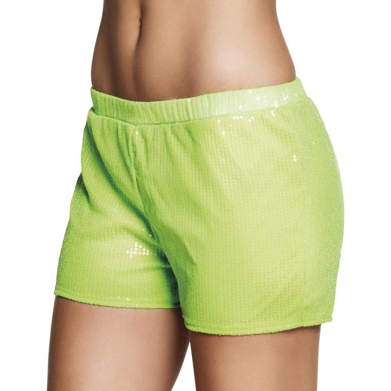 Hotpants pailletten neon groen