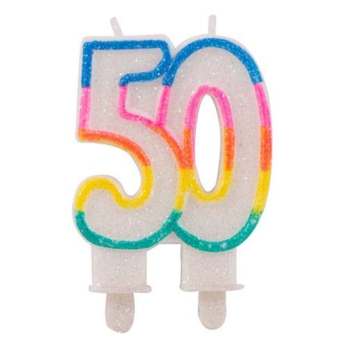 Kaars 50 glitter multikleur