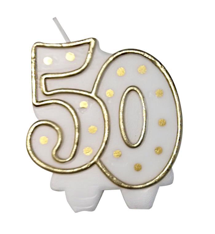 Kaars 50 gouden stippen