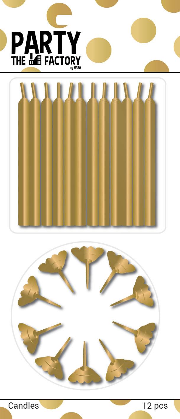 Kaarsjes goud met houder 12st