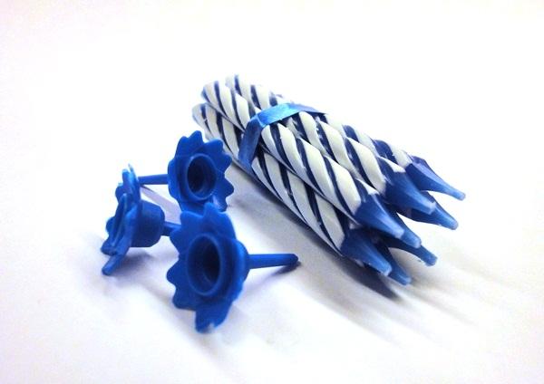 Kaarsjes + houders blauw