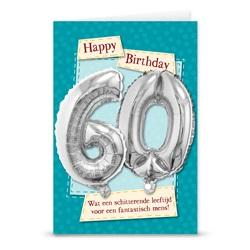 Kaart met cijferballon 60 jaar