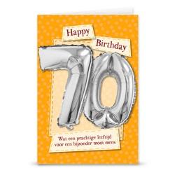 Kaart met cijferballon 70 jaar