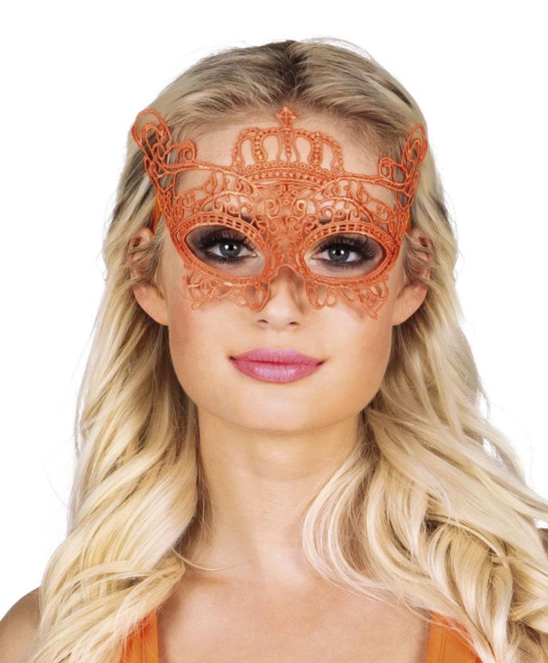 Kanten oogmasker oranje kroon