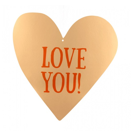 Kartonnen decoratie Love You 30x29cm