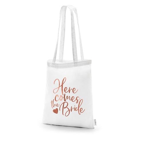 Katoenen tas Here comes the bride