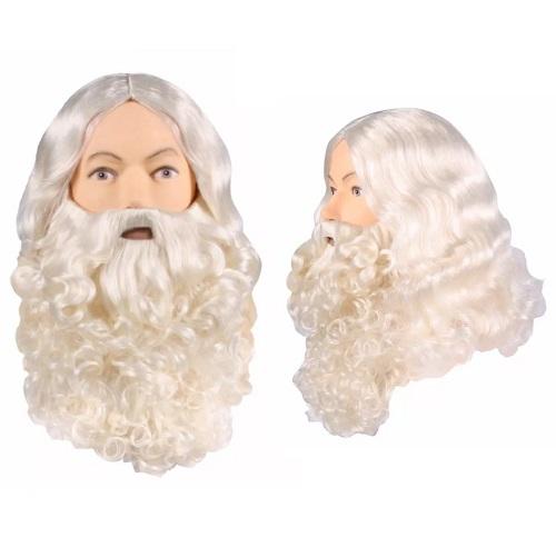 Kerstman baard en pruik ecru