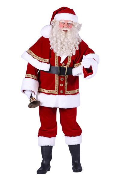 Kerstmanpak luxe met cape echt fluweel - Extra Extra Large