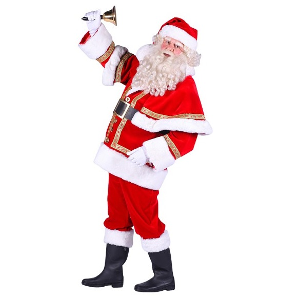 Kerstmanpak luxe met cape polyester fluweel - Large