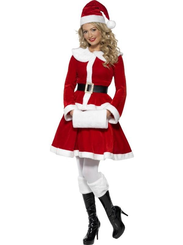 Kerstvrouw Miss Santa met mof - Extra Large