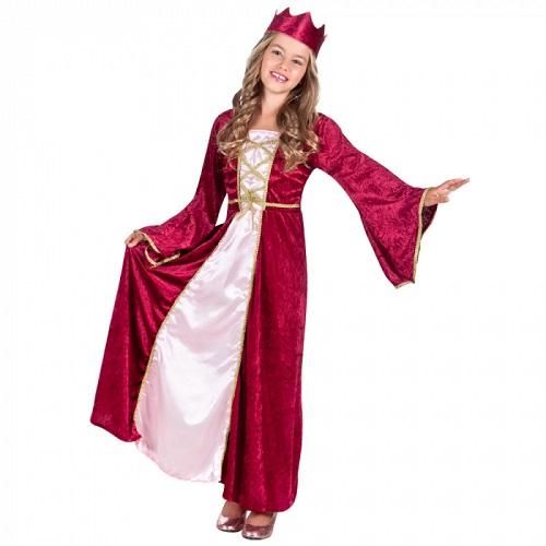 Kinderkostuum Renaissance koningin rood 7-9 jaar
