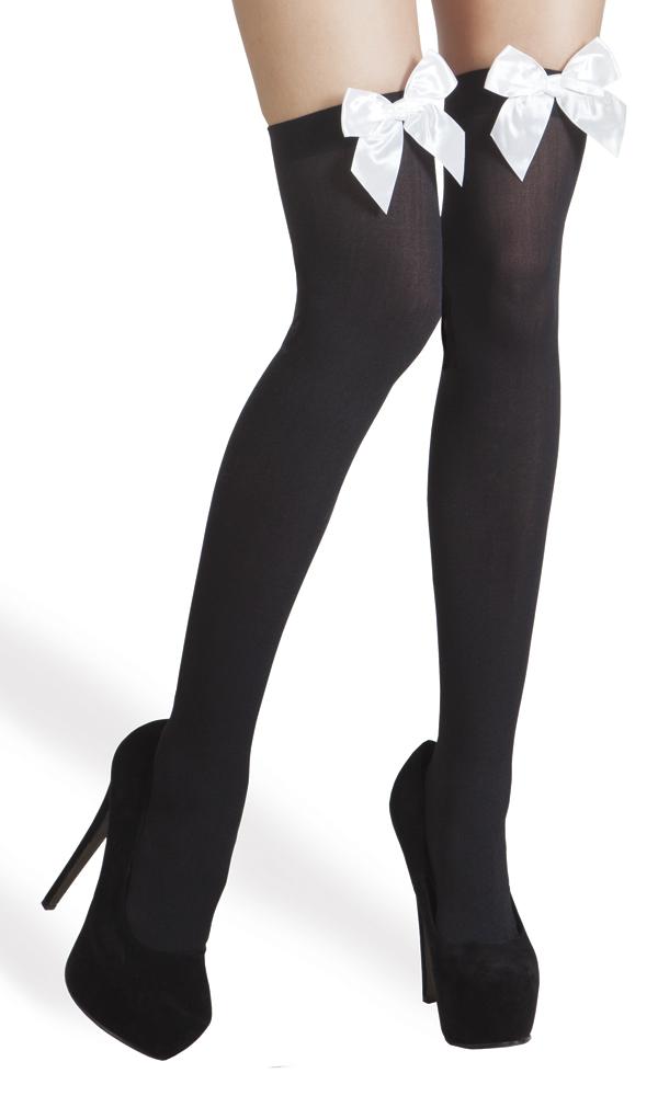 Kousen zwart met strik wit