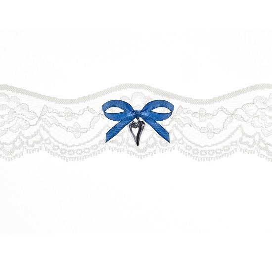 Kousenband creme met blauw strikje