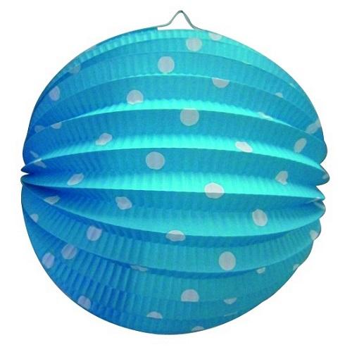 Lampion bol blauw met stippen 23cm