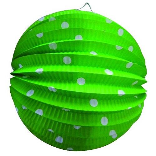 Lampion bol groen met stippen 23cm