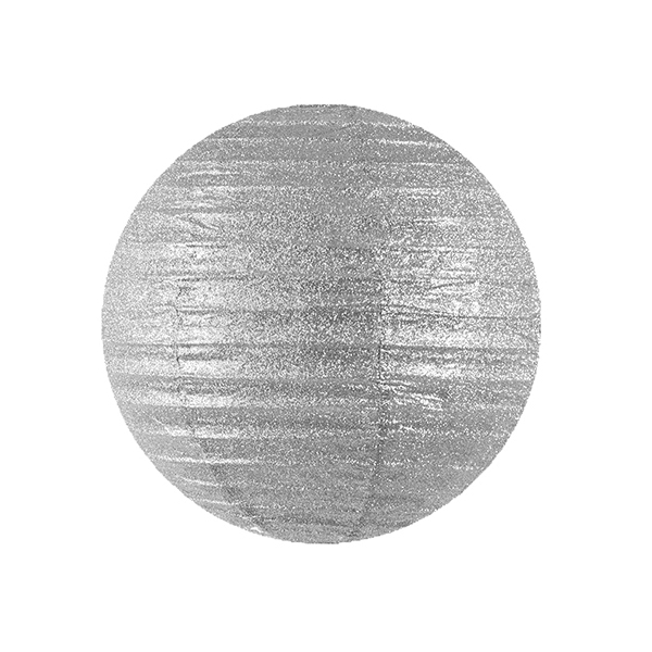 Lampion glitter zilver 25cm