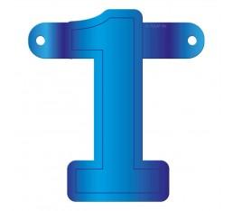 Letterslinger cijfer 1 blauw
