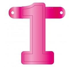 Letterslinger cijfer 1 roze
