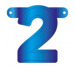 Letterslinger cijfer 2 blauw