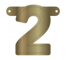 Letterslinger cijfer 2 goud