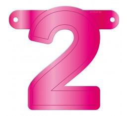 Letterslinger cijfer 2 roze