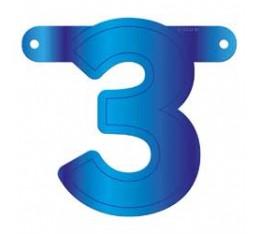 Letterslinger cijfer 3 blauw