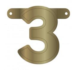 Letterslinger cijfer 3 goud