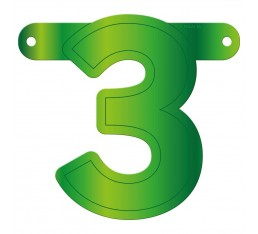 Letterslinger cijfer 3 groen
