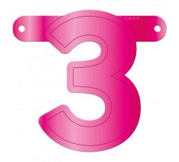 Letterslinger cijfer 3 roze