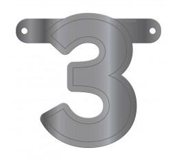 Letterslinger cijfer 3 zilver
