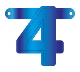 Letterslinger cijfer 4 blauw