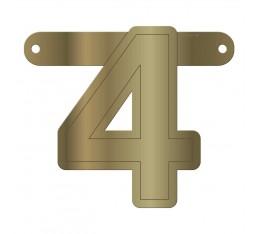 Letterslinger cijfer 4 goud
