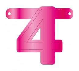 Letterslinger cijfer 4 roze