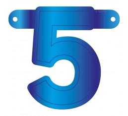Letterslinger cijfer 5 blauw