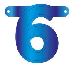 Letterslinger cijfer 6 blauw