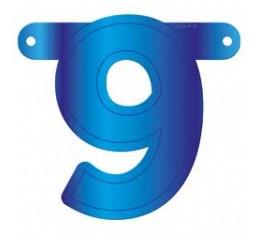 Letterslinger cijfer 9 blauw