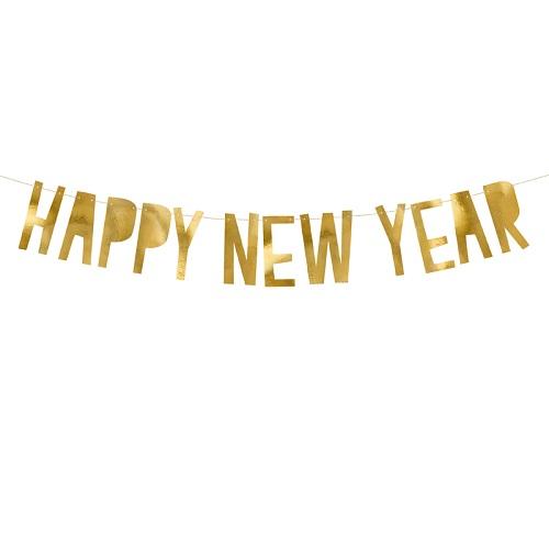 Letterslinger Happy New Year goud 90cm