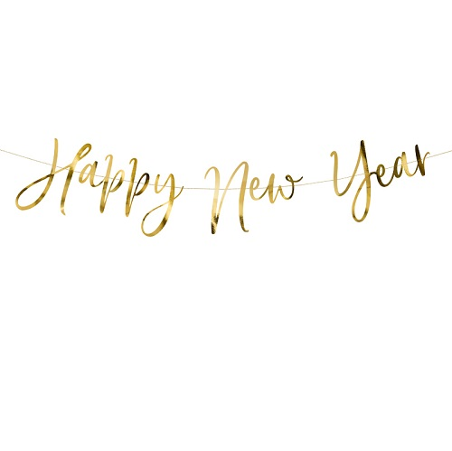 Letterslinger Happy new year goud